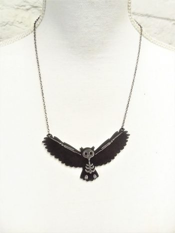 bat skeleton owl skeleton necklace
