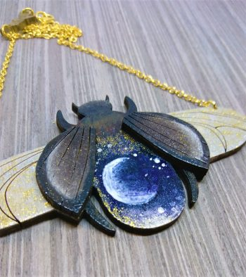 cosmic galaxy bee wooden necklace by beams and bobbins