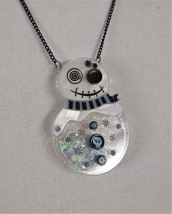 snowman snowglobe by beams and bobbins alternative gothic christmas statement jewellery