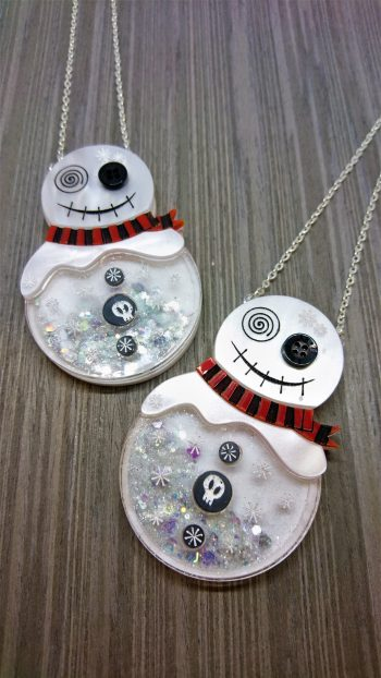 gothic snowman snowglobe pendant by beams and bobbins