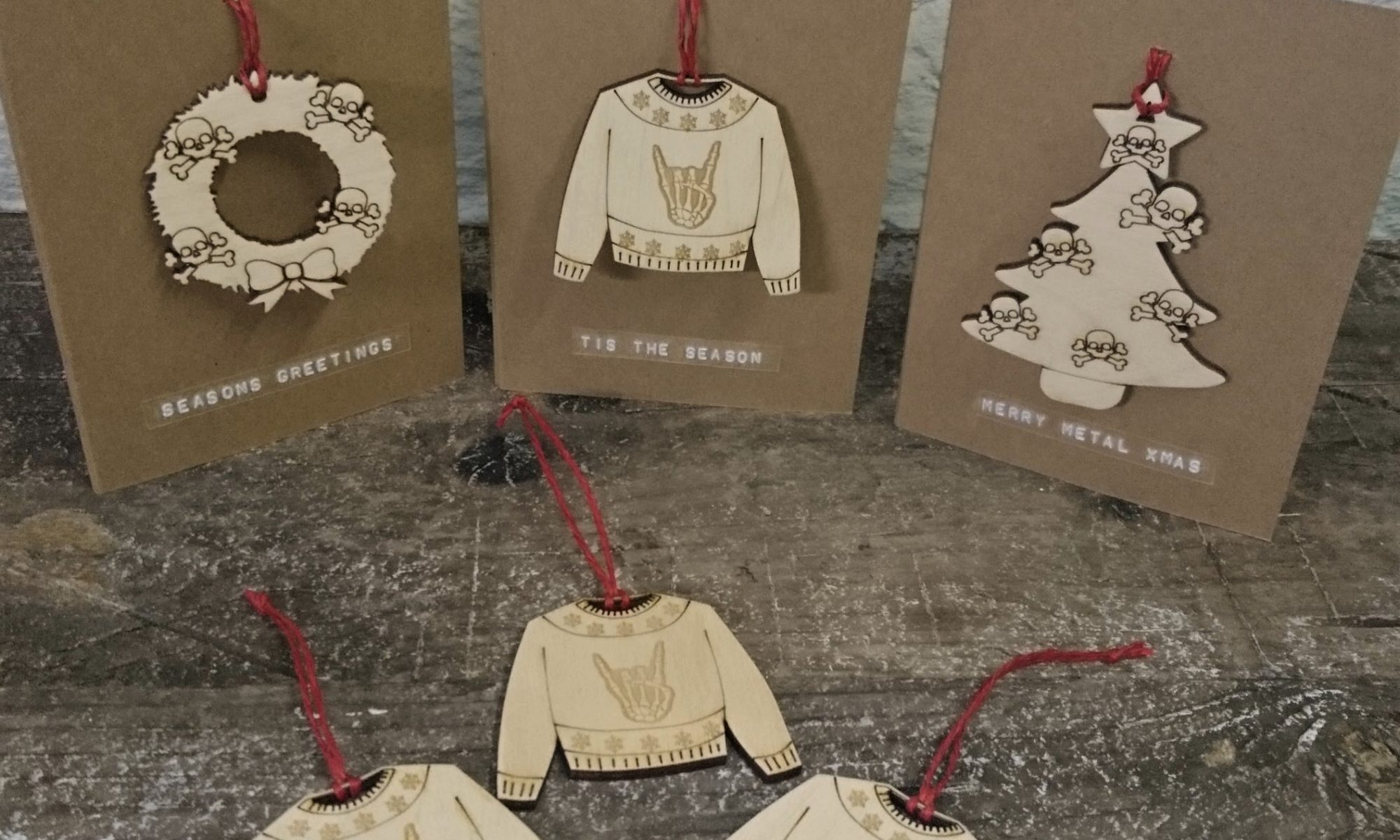 skull wreath tree metal horns jumper decoration gift card by beams and bobbins