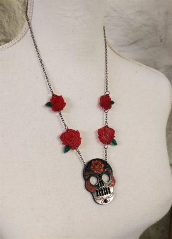 skulls and roses necklace by beams and bobbins