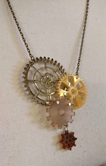 steampunk cogs necklace by beams and bobbins