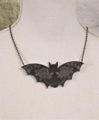 gothic bat necklace by beams and bobbins
