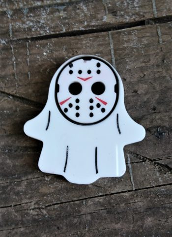 Horror Villains Ghost Brooches by Beams and Bobbins; pennywise, IT, chucky, Horror, Jason, Micheal
