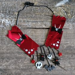 Gothic Christmas Cracker Statement Necklace by Beams and Bobbins alternative jewellery laser cut dark nightmare before christmas