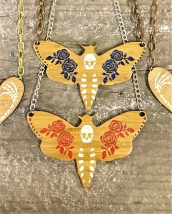 deaths head moth necklace by beams and bobbins laser-cut alternative gothic