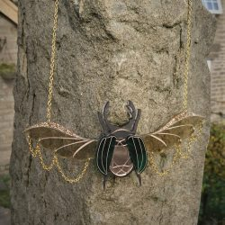 gold/green gem scarab beetle by beams and bobbins