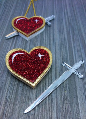 Dagger through my Heart necklace brooch by Beams and Bobbins