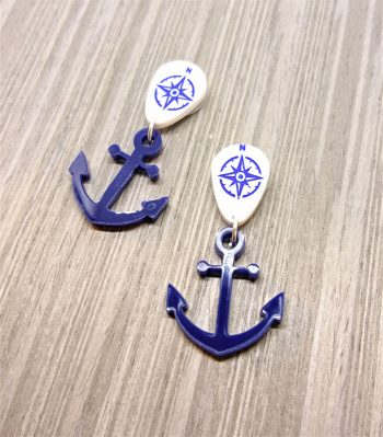 Anchor Earrings by Beams and Bobbins