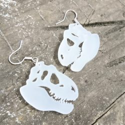 T-Rex Skull earrings by beams and bobbins