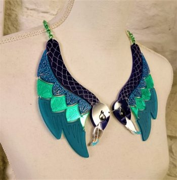 statement peacock necklace by beams and bobbins