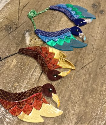 statement peacock and phoenix necklace by beams and bobbins