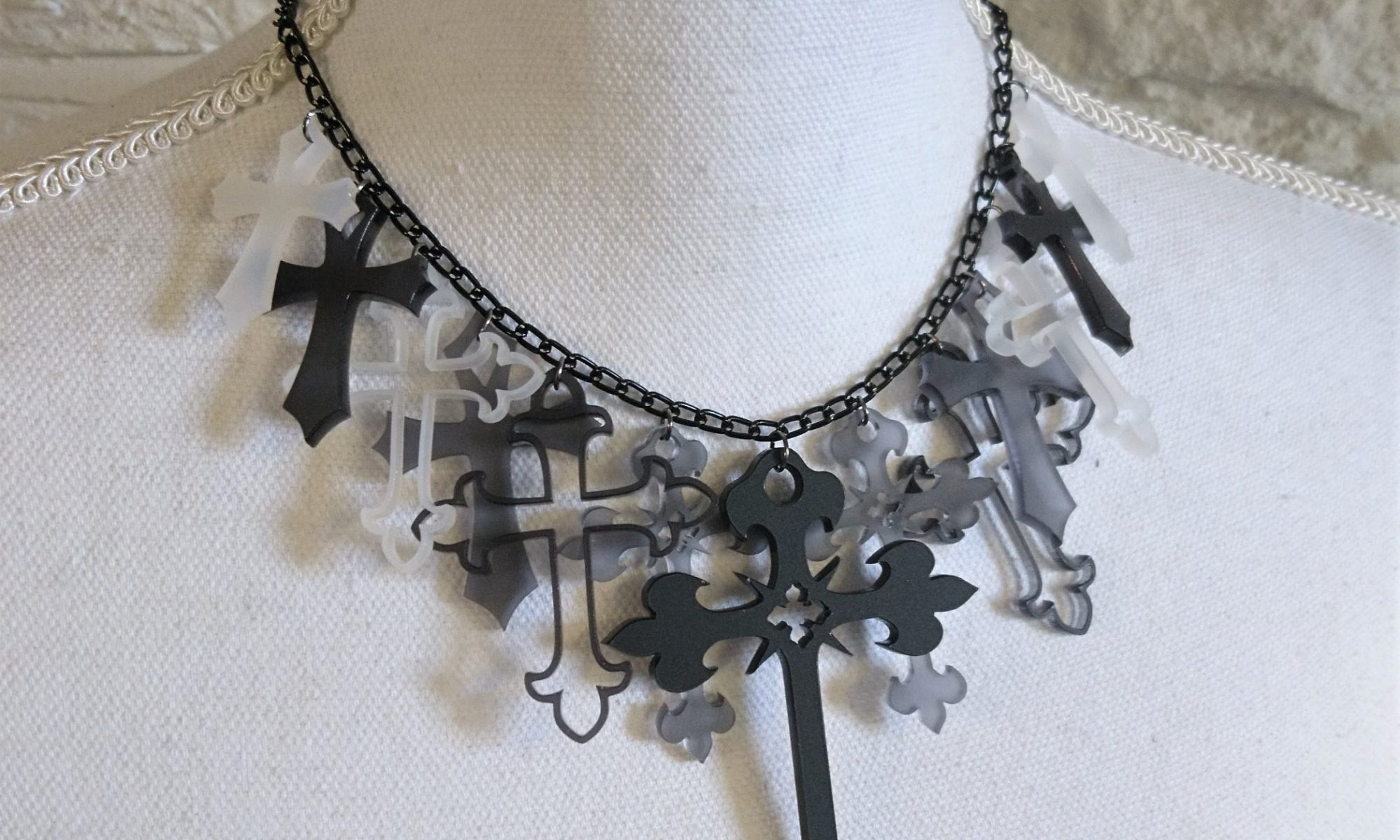Cluster Crosses Statement necklace by Beams and Bobbins