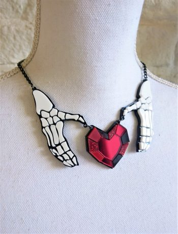 skeleton hands heart necklace, Death Loves Too necklace by beams and bobbins