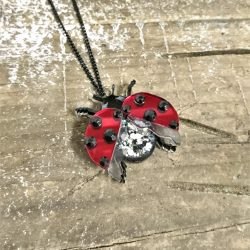 Glitzy Ladybird Necklace / Brooch by Beams and Bobbins
