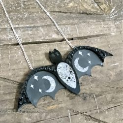 cosmic bat necklace by Beams and Bobbins alternative laser cut statement
