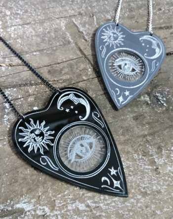 Planchette Necklace by Beams and Bobbins alternative gothic laser-cut jewellery
