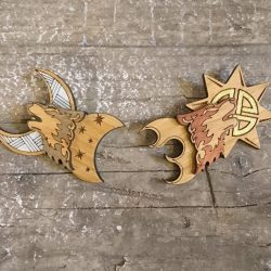Norse Mythology Collection Skoll & Hati Brooch Duo by Beams and Bobbins