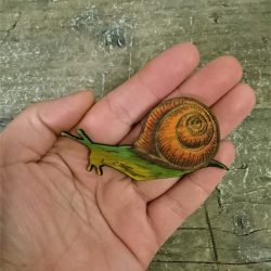 mr mollusc snail bamboo brooch by beams and bobbins alternative gothic laser cut jewellery