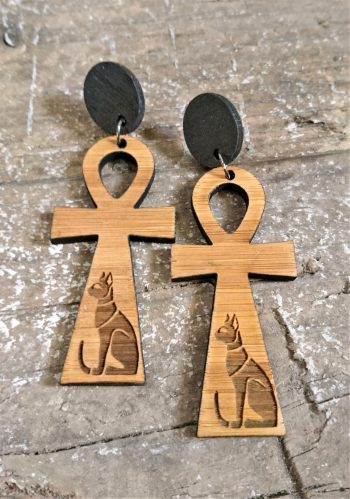 Ankh Earrings by Beams and Bobbins Acrylic Bamboo Egyptian Alternative Gothic Laser-cut Jewellery