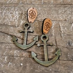 Anchor and Compass Bamboo Earrings by Beams and Bobbins gothic alternative rockabilly sailor laser-cut jewellery