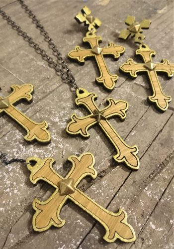 Gothic Crosses Gold and Bamboo Earrings / Necklace by Beams and Bobbins