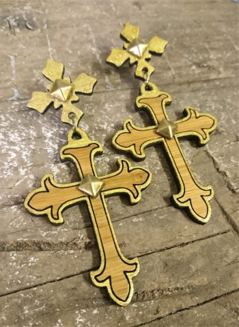 Gothic Crosses Gold and Bamboo Earrings by Beams and Bobbins