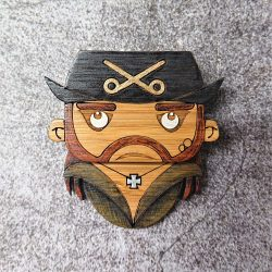 lemmy kilmister motorhead eco-friendly bamboo brooch by beams and bobbins alternative gothic jewellery