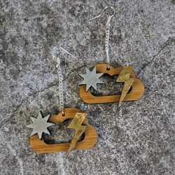 Celestial Cloud Eco-Friendly Bamboo Earrings by Beams and Bobbins Alternative Gothic Jewellery
