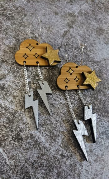 Thunderbolt Cloud Eco-Friendly Bamboo Earrings by Beams and Bobbins Alternative Gothic Jewellery
