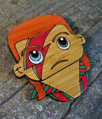 Ziggy Stardust / David Bowie Eco-Friendly Bamboo Brooch by Beams and Bobbins alternative gothic jewellery