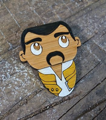 Freddie Mercury Eco-Friendly Bamboo Brooch by Beams and Bobbins alternative gothic jewellery
