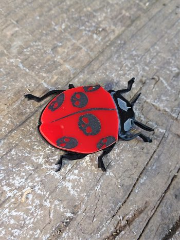 Skully Bug Acrylic Brooch by Beams and Bobbins alternative gothic jewellery