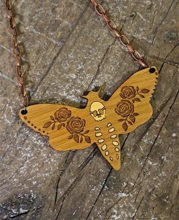 Deathshead Moth Necklace by Beams and Bobbins alternative gothic jewellery