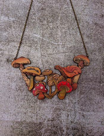 Le Champignon Mushroom Eco-Friendly Bamboo Necklace by Beams and Bobbins Alternative Gothic Jewellery