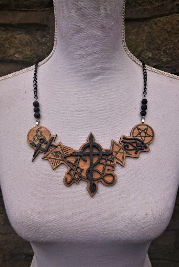 Symbolica Occult symbols statement necklace by Beams and Bobbins alternative gothic eco-friendly bamboo jewellery