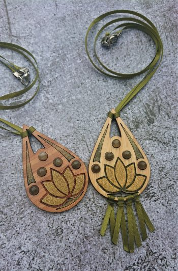 Labradorite Lotus Pendant in Eco-Friendly Bamboo by Beams and Bobbins alternative gothic jewellery