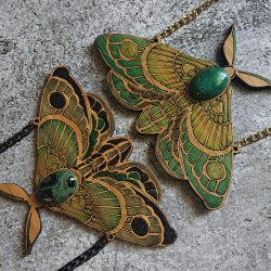 Goddess Moth with Semi-Precious Stone in Eco-friendly Bamboo by Beams and Bobbins Alternative Gothic Laser-Cut Jewellery