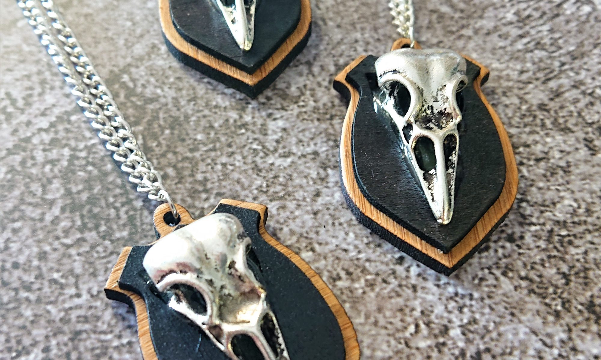Mounted Covid Bird Skull Necklace by Beams and Bobbins alternative gothic jewellery