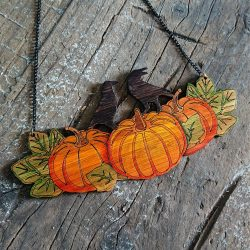 Pumpkin Patch Necklace in Eco-Friendly Bamboo by Beams and Bobbins alternative gothic jeweller