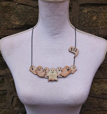 Little Spooks Necklace in Eco-Friendly Bamboo by Beams and Bobbins Alternative Gothic Jewellery