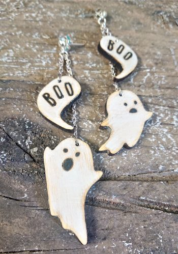 Little Spooks Earrings in Eco-Friendly Bamboo by Beams and Bobbins Alternative Gothic Jewellery