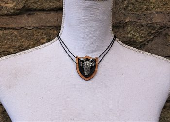 Pagan Ram Skull Necklace on Eco-friendly bamboo necklace by Beams and Bobbins alternative gothic jewellery