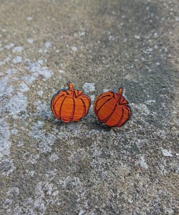Pumpkin Stud earrings in Eco-Freindly Bamboo by Beams and Bobbins alternative gothic jewellery