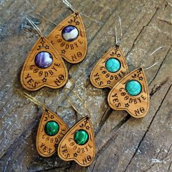 Semi-Precious Stone Planchette Earrings in eco-friendly bamboo by Beams and Bobbins alternative gothic jewellery