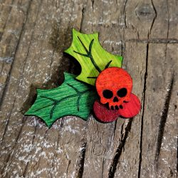Skull Holly Brooch / Earrings by Beams and Bobbins |eco-Friendly Bamboo alternative gothic jewellery