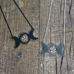 Triple Moon Necklace by Beams and Bobbins alternative gothic jewellery