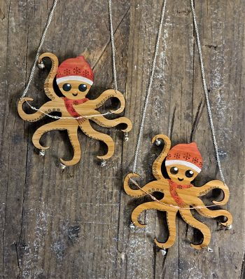 Jingly Flashy Holiday Octopus in Eco-Friendly Bamboo by Beams and Bobbins alternative gothic jewellery
